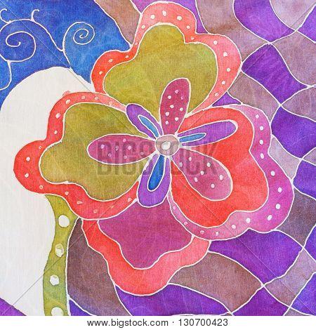 Abstract Flower On Gray, Red, Violet Silk Batik