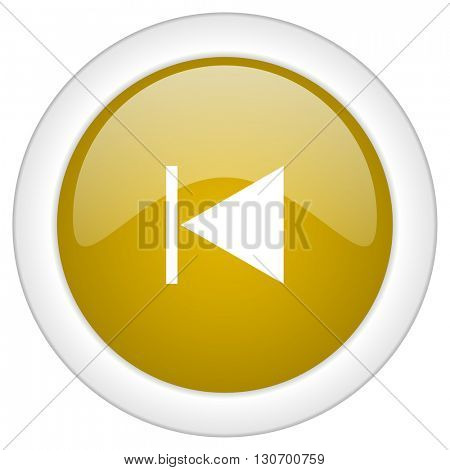 prev icon, golden round glossy button, web and mobile app design illustration