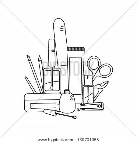 Beauty background with manicure tools - nail clippers, nail polish and nailfile. Vector illustration.