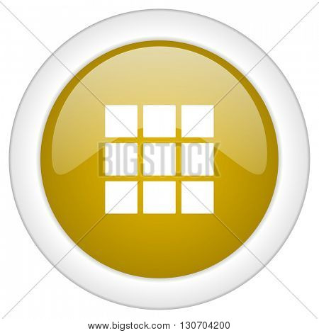 thumbnails grid icon, golden round glossy button, web and mobile app design illustration