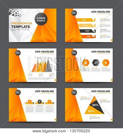 Orange multipurpose presentation template flat design set for brochure flyer marketing and advertising polygon background Infographic Element Business infographic Layout design Modern Style