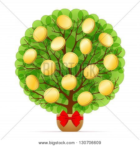 Money tree with green leafage and gold coins is growing in pot decorated with red bow on white background