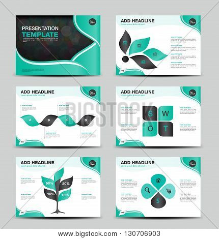 Green multipurpose presentation template flat design set for brochure flyer marketing and advertising Infographic Element Business infographic Layout design Modern Style vector template