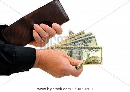 Man handing money from wallet