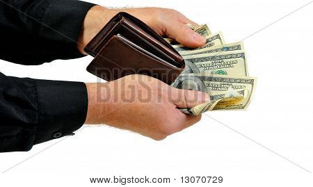Man offering wallet and money