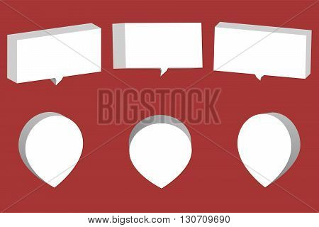 Set of white 3D chat boxes and pointers isolated on red background. 3D chat box and pointer from various angles.