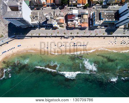 Top View of Porto da Barra Beach, Bahia, Brazil