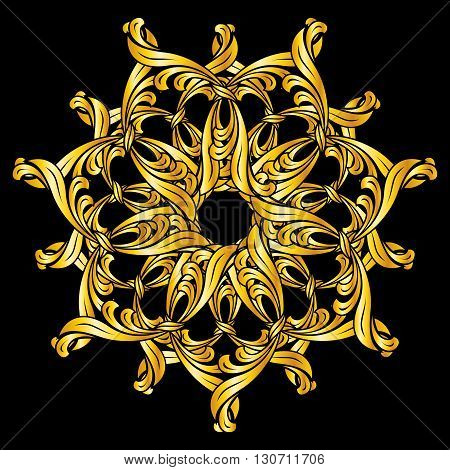 Gold florid pattern. Illustration on black background