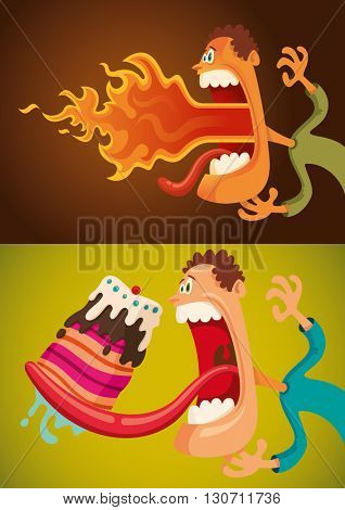 Funny guy in different comic situations, eating cake, breathing fire. Vector illustration