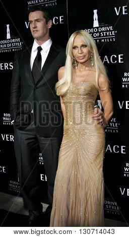 Rupert Everett and Donatella Versace at the Rodeo Drive Walk Of Style Award honoring Gianni and Donatella Versace held at the Beverly Hills City Hall in Beverly Hills, USA on February 8, 2007.