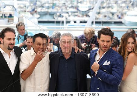 Jonathan Jakubowicz, Roberto Duran, Robert De Niro, Edgar Ramirez, Ana de Armas at the photocall for Hands Of Stone at the 69th Festival de Cannes. May 16, 2016  Cannes, France