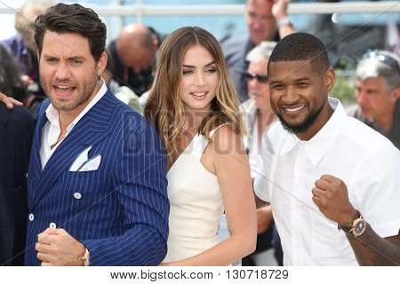 Edgar Ramirez, Ana de Armas, Usher  at the photocall for Hands Of Stone at the 69th Festival de Cannes. May 16, 2016  Cannes, France