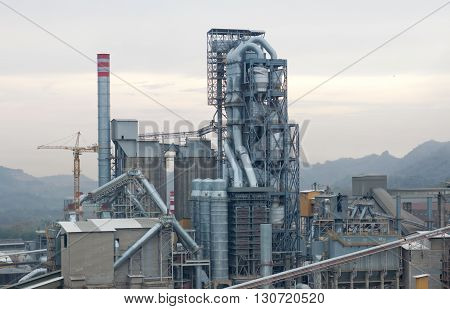 Preheater tower of kiln rotary section in cement industrial