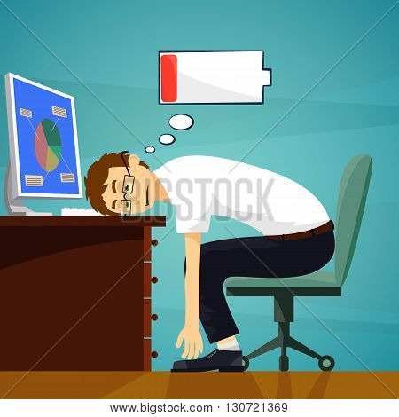 Tired worker in the workplace. Low battery charge. Stock vector illustration.