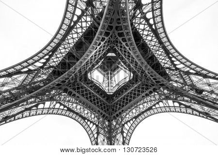 The Eiffel tower, view from below, Paris, France