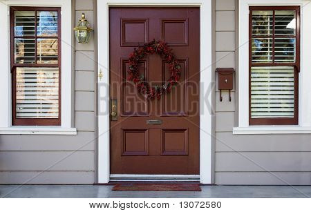 Burgundy Door And 2 Windows