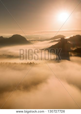 Autumn Sunset View Over Forest To Fall Colorful Valley Full Of Dense Mist Colored With Hot Sun Rays