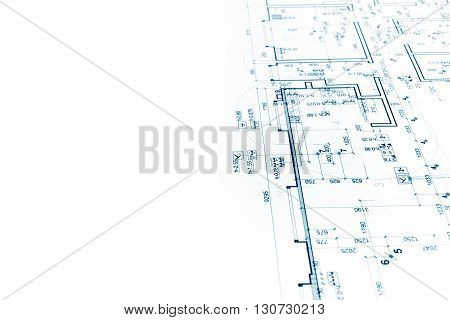 Architectural Project, Construction Plan Blueprint, Technical Drawing