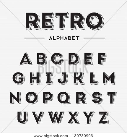 Simple black retro style 3d effect graphical font