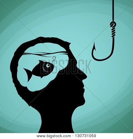 Fish in the human head. Man looking on a fishing hook. Lies deception and fraud. Stock vector illustration.