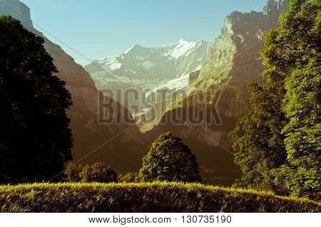 Swiss Alps - snow capped mountains and deep valleys stunning view breatht,aking panorama, Berner Oberland