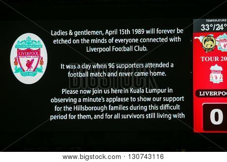 July 24, 2015- Shah Alam, Malaysia: Fans and supporters show their support for the visiting Liverpool team from England in their friendly match against Malaysia, remembering the Hillsborough tragedy.