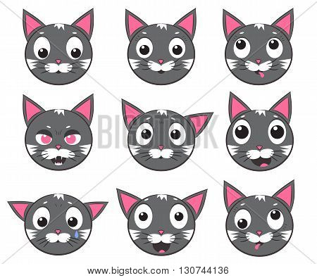 Smiley cat faces. Set of vector icons