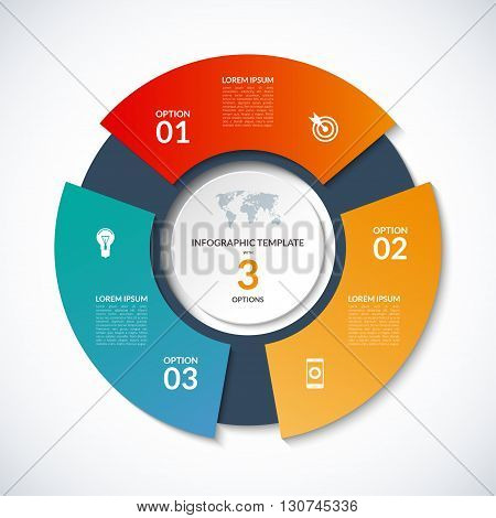 Vector circle template for infographics. Business concept with 3 options, steps, parts, segments. Banner for cycling diagram, round chart, pie chart, business presentation, annual report, web design