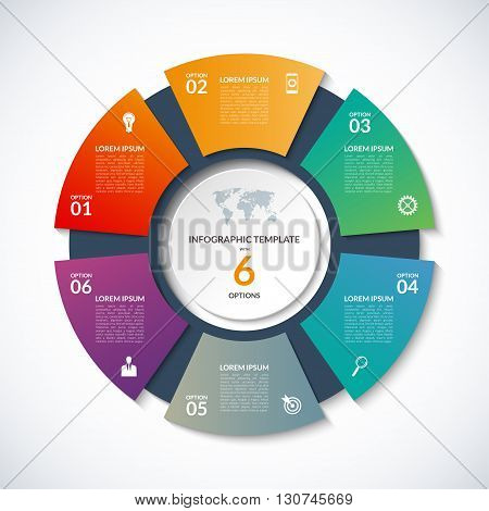 Vector circle template for infographics. Business concept with 6 options, steps, parts, segments. Banner for cycling diagram, round chart, pie chart, business presentation, annual report, web design