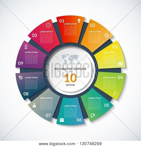 Vector circle template for infographics. Business concept with 10 options, steps, parts, segments. Banner for cycling diagram, round chart, pie chart, business presentation, annual report, web design
