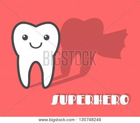 Cartoon tooth with superhero shadow. Vector illustration