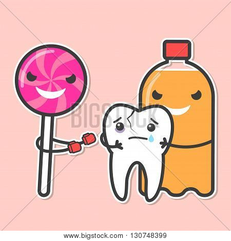 Soda and lollipop bully tooth. Sweets provoke dental caries concept. Vector illustration