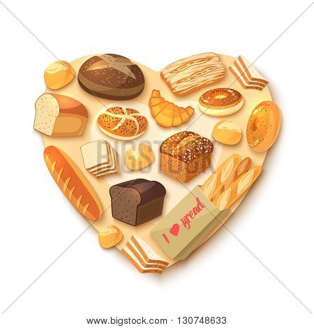 Heart-shaped bakery assortment with rye bread, ciabatta, wheat bread, whole grain bread, bagel, sliced bread, french baguette, croissant and so. Vector illustration, isolated on white, eps 10.