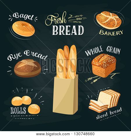 Chalkboard bakery ADs set: bagel, bread, rye bread, ciabatta, wheat bread, whole grain bread, sliced bread, french baguette, croissant. Stylish bakery goods template. Vector illustration.