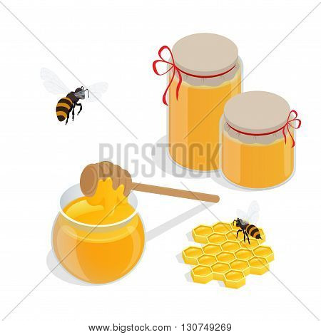 Glass jar full of honey and wooden honey dipper vector illustrations. Apiary vector symbol. Bee, honey, honey bank, honeycomb. Honey natural healthy food production.