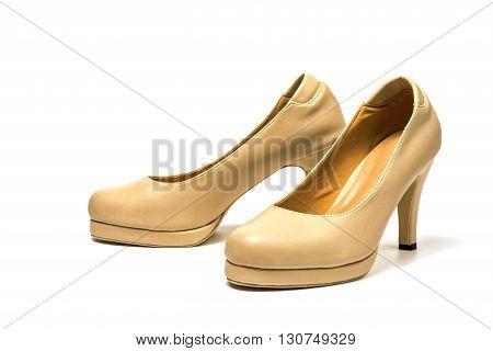 Female high heel leather shoe on white background