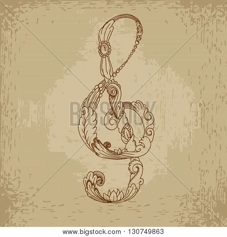 Grunge treble clef. Hand drawn vector stock illustration