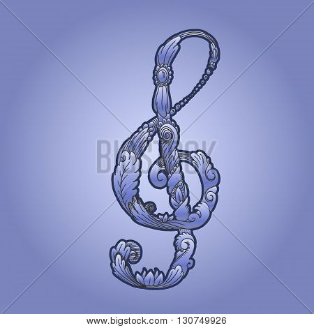 Treble clef with plant ornament. Hand drawn vector stock illustration