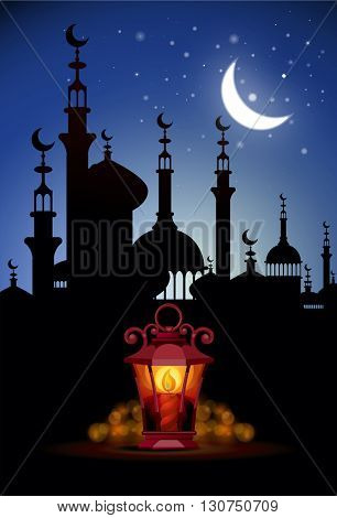 Ramadan Kareem greeting background with light lantern.  Illustration  of muslim holy month with mosque building. Vector Illustration.