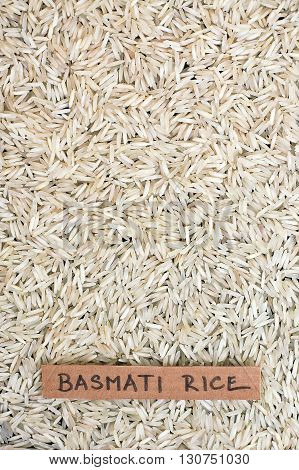 Background From Basmati Rice With The Label
