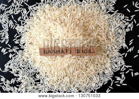 Basmati Rice With The Label On The Black Background