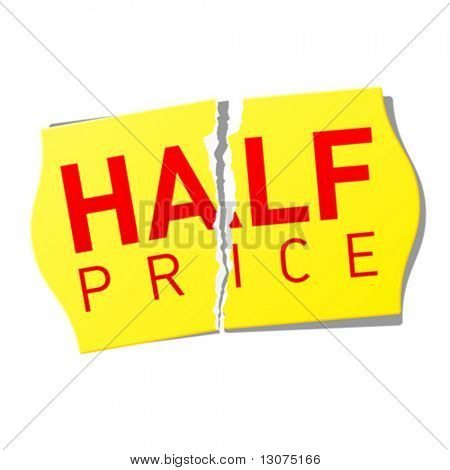 Half price sticker. Vector.