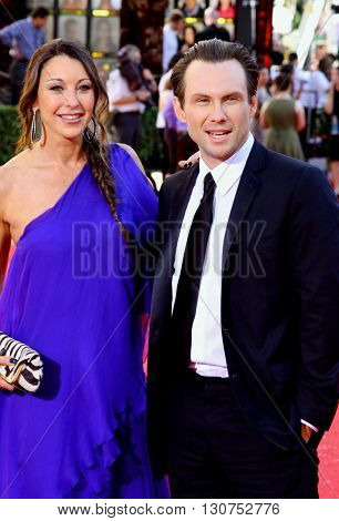 Tamara Mellon and Christian Slater at the 60th Primetime Emmy Awards held at the Nokia Theater in Los Angeles, USA on September 21, 2008.