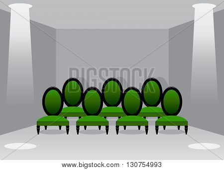 cinema hall. Green chairs of a cinema hall against gray walls and two projectors