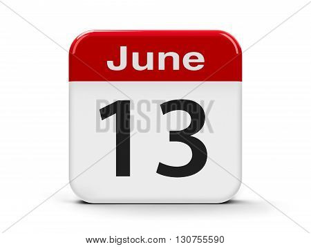 Calendar web button - The Thirteenth of June three-dimensional rendering 3D illustration