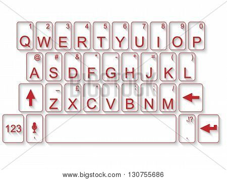 KEYBOARD QWERTY FLAT RED  for web and other
