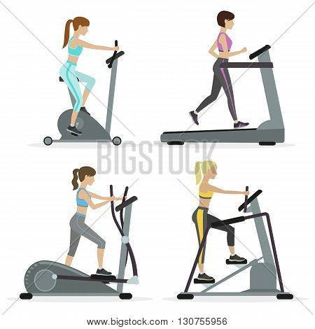 Set of girls with cardio equipments working out at the gym. Vector.