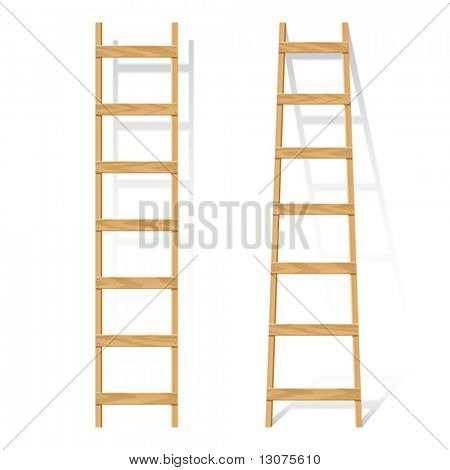 Wooden ladder. Vector.