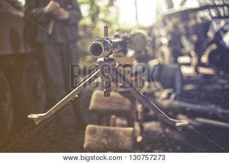 close up on heavy machine gun, vintage effect