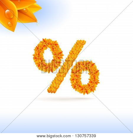 Sans serif font with autumn leaf decoration on white background. Per cent sign